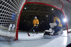 Ice hockey goalkeeper. Player on goal in action Royalty Free Stock Photography