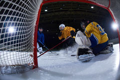 Ice hockey goalkeeper. Player on goal in action Royalty Free Stock Photo