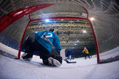 Ice hockey goalkeeper. Player on goal in action Stock Image