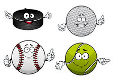 Ice hockey, golf, tennis and baseball items Royalty Free Stock Photography