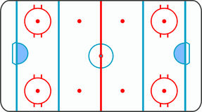 Ice hockey ground with all lines on white backgrou Royalty Free Stock Photography