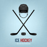 Ice hockey helmet, puck and sticks Royalty Free Stock Photography