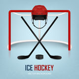 Ice hockey helmet, puck, sticks and goal. Vector background. Royalty Free Stock Image