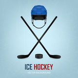 Ice hockey helmet, puck and sticks. Vector Royalty Free Stock Photo