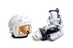 Ice Hockey Helmet and Skates Isolated on White Royalty Free Stock Photo