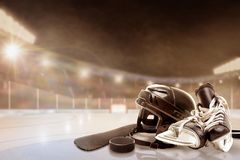Outdoor Hockey Stadium With Equipment on Ice Stock Images