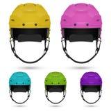 Ice hockey helmets set, isolated on white background. Stock Photo