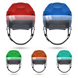 Ice hockey helmets with visor, on white Stock Photo