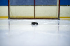 Ice hockey, hockey puck. The puck on the ice at the gate Royalty Free Stock Photo