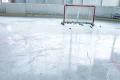 Ice Hockey Ice Rink And Empty Net Royalty Free Stock Photography