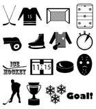 Ice hockey icons set Royalty Free Stock Photos