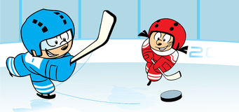 Ice hockey. The illustration shows children, who play hockey on ice stadium. Illustration done in cartoon style, on separate layers vector illustration
