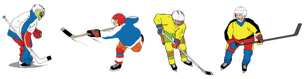Ice hockey kids. Ice-hockey kids 4 illustrations shooting playing goalkeeper skating Stock Photos