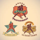 Ice hockey labels Royalty Free Stock Image