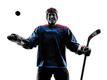 Ice hockey man player silhouette royalty free stock image