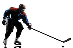 Ice hockey man player silhouette Stock Image