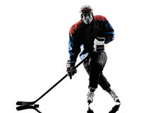 Ice hockey man player silhouette Stock Image