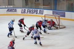 Ice hockey match Bobrov vs Piter Royalty Free Stock Images