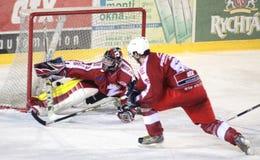 Ice hockey match - goal. Ice hockey match Zdar vs. Jindrichuv Hradec, Czech league November 8, 2009 Zdar N.S, Czech Rep. Final score for Jindrichuv Hradec 11-1 Stock Photos