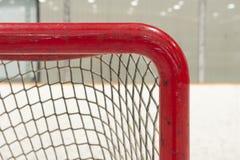 Ice hockey net closeup. On top corner post Royalty Free Stock Photography