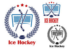 Ice hockey net emblems Royalty Free Stock Image