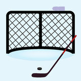 Ice hockey net gate with hockey stick and puck eps10 Stock Photos