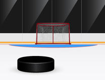 Ice hockey. Picture of ice hockey puck in front of goal, eps 10 illustration vector illustration