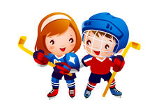 Ice hockey player. Two of Ice hockey player Royalty Free Stock Photos