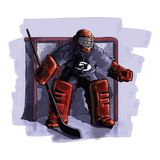Ice Hockey player. A very detailed cartoon illustration of an ice hockey player royalty free illustration