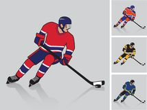 Ice hockey player in action. Hockey player in action vector illustration with four jersey design and colors options royalty free illustration
