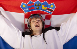 Ice hockey player with croatian flag Stock Photo