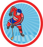 Ice Hockey Player Front With Stick Cartoon Stock Photo