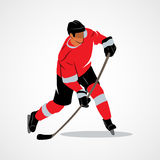 Ice hockey player. Hits the puck on a white background. Vector illustration Stock Image