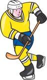 Ice Hockey Player Holding Stick Cartoon Royalty Free Stock Photos