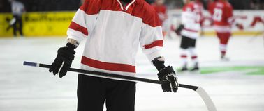 Ice hockey player on the ice. Team sport royalty free stock photography