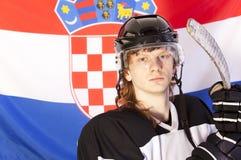 Ice hockey player over croatian flag Stock Photos