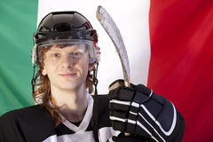 Ice hockey player over italian flag Stock Images