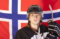 Ice hockey player over norwegian flag Stock Photography