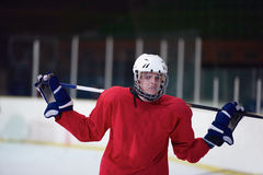 Ice hockey player portrait Royalty Free Stock Photo