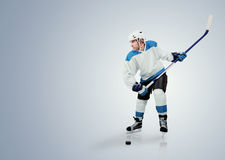Ice hockey player ready to attack Stock Image