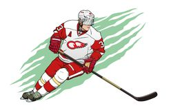 Ice hockey player. In red and white uniform vector illustration Royalty Free Stock Images