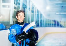 Ice hockey player resting between game periods. Portrait of teenage boy, professional ice hockey player, resting between game periods stock images