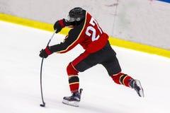 Ice hockey player shoots the puck. Goal stock photos