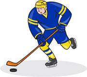 Ice Hockey Player Side With Stick Cartoon. Illustration of an ice hockey player with hockey stick set inside oval shape done in cartoon style Stock Photography