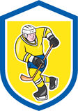 Ice Hockey Player With Stick Shield Cartoon Royalty Free Stock Image