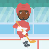 Ice hockey player with stick vector illustration. Royalty Free Stock Photography