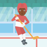 Ice hockey player with stick vector illustration. Stock Image