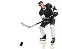 Ice Hockey Player. Studio shot over white stock image