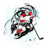 Ice hockey player. On watercolor Stock Photo