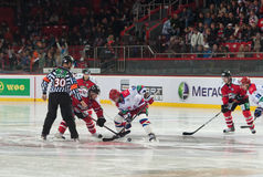 Ice hockey players from Donbass (Donetsk) and CSKA (Moscow) Royalty Free Stock Photo